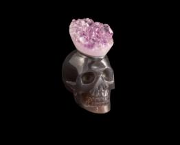 chalcedoon met amethist schedel