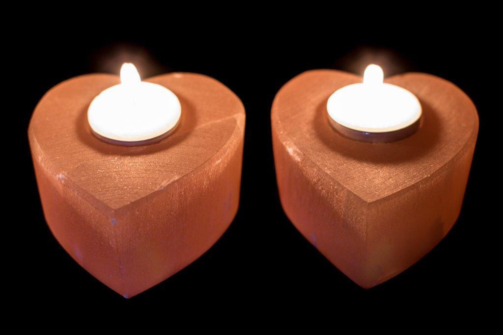 oranje seleniet kaarshouder hartvorm